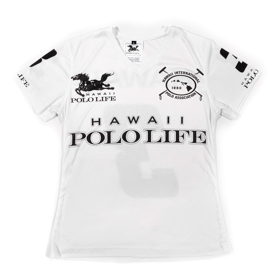 Women's Vee Neck Jersey in White (Hawaii Polo Life)