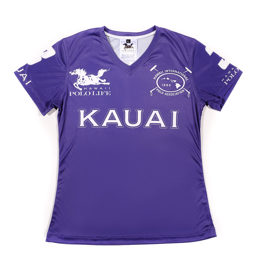 Women's Vee Neck Jersey in Purple (Kauai)