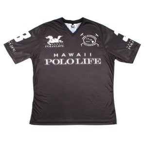 Men's Vee Neck Polo Jersey in Black (Hawaii Polo Life)