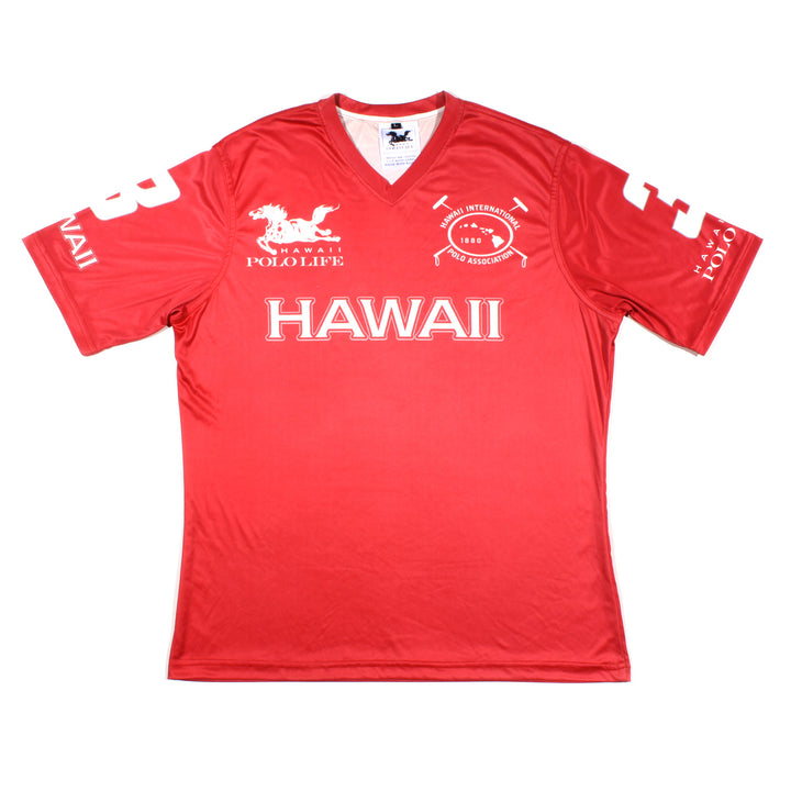 Men's Vee Neck Polo Jersey in Red (Hawaii)
