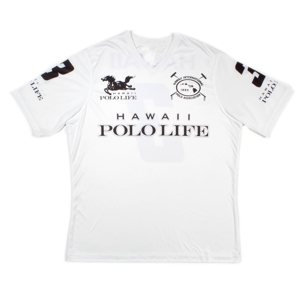 MEN'S V-NECK POLO JERSEY - HAWAII POLO LIFE - WHITE