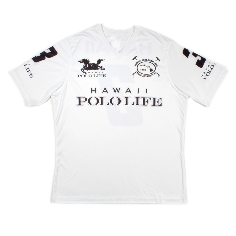 Men's Vee Neck Polo Jersey in White (Hawaii Polo Life)