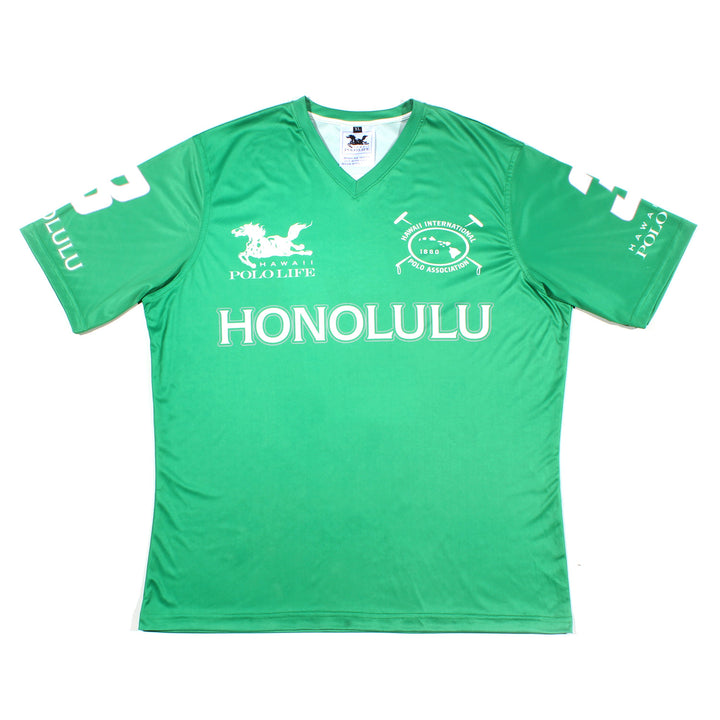 Men's Vee Neck Polo Jersey in Green (Honolulu)