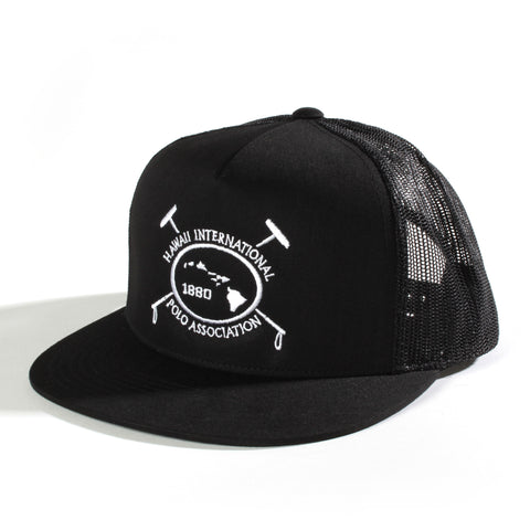Hawaii International Polo Association Trucker Hat in Black