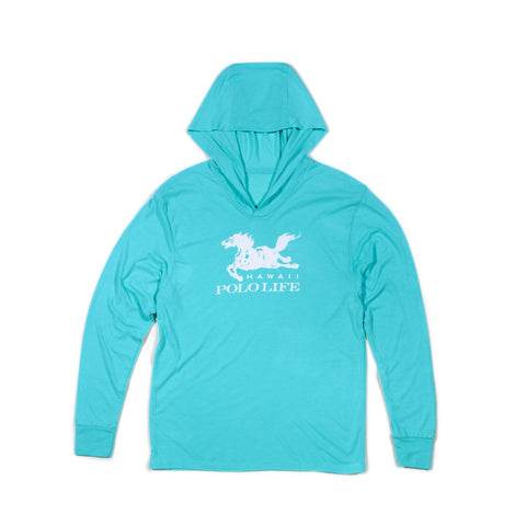 Hawaii Polo Life Logo Hoodie in Turquoise