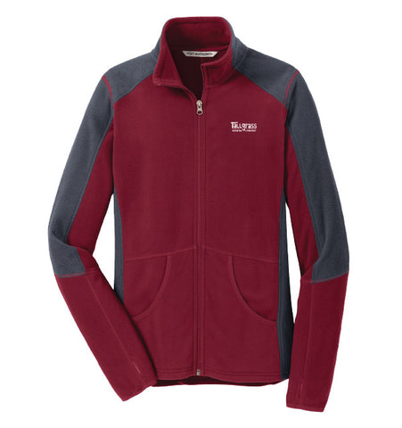 Embroidered Logo Colorblock Microfleece Jacket - Ladies