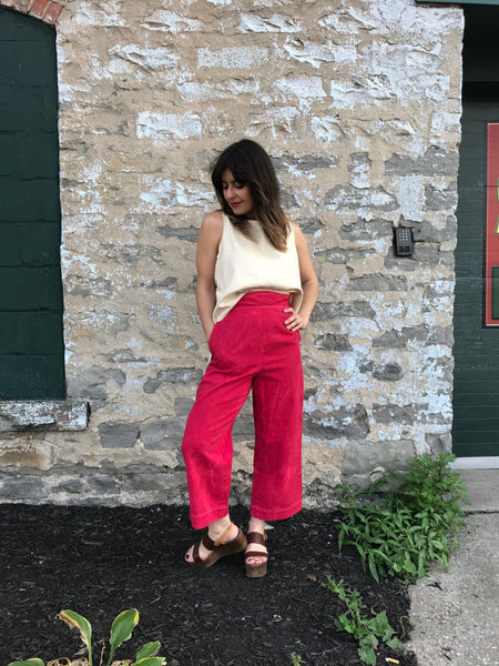 Bib Top Pants | Red Denim