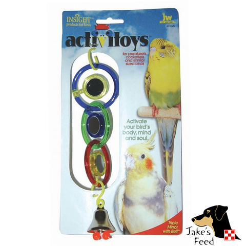 TRIPLE MIRROR WITH BELL BIRD TOY