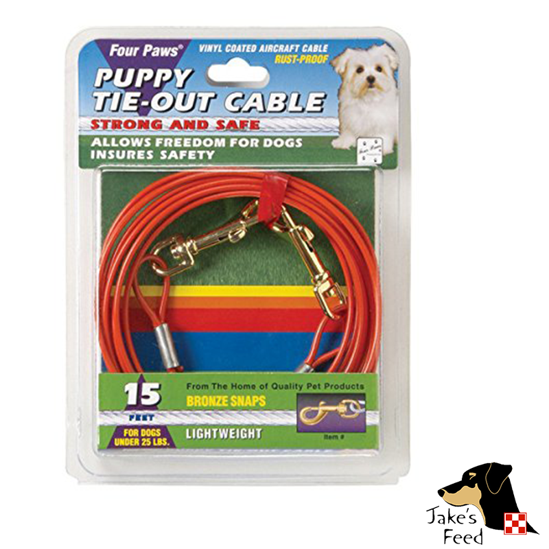 FOUR PAWS TIE OUT CABLE 15' LIGHTWEIGHT PUPPY ORANGE