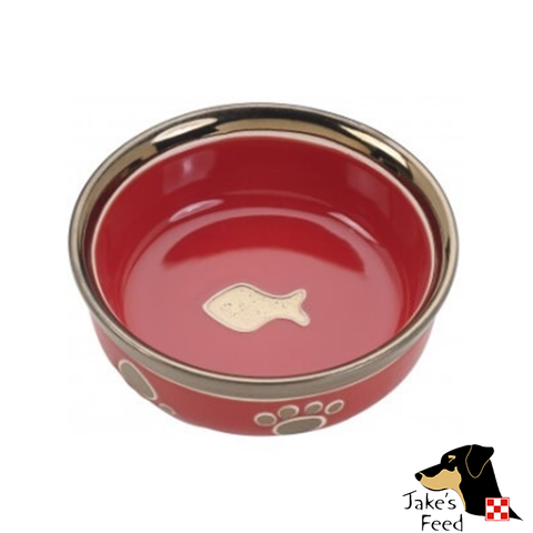 RITZ COPPER RIM RED CAT DISH 5""
