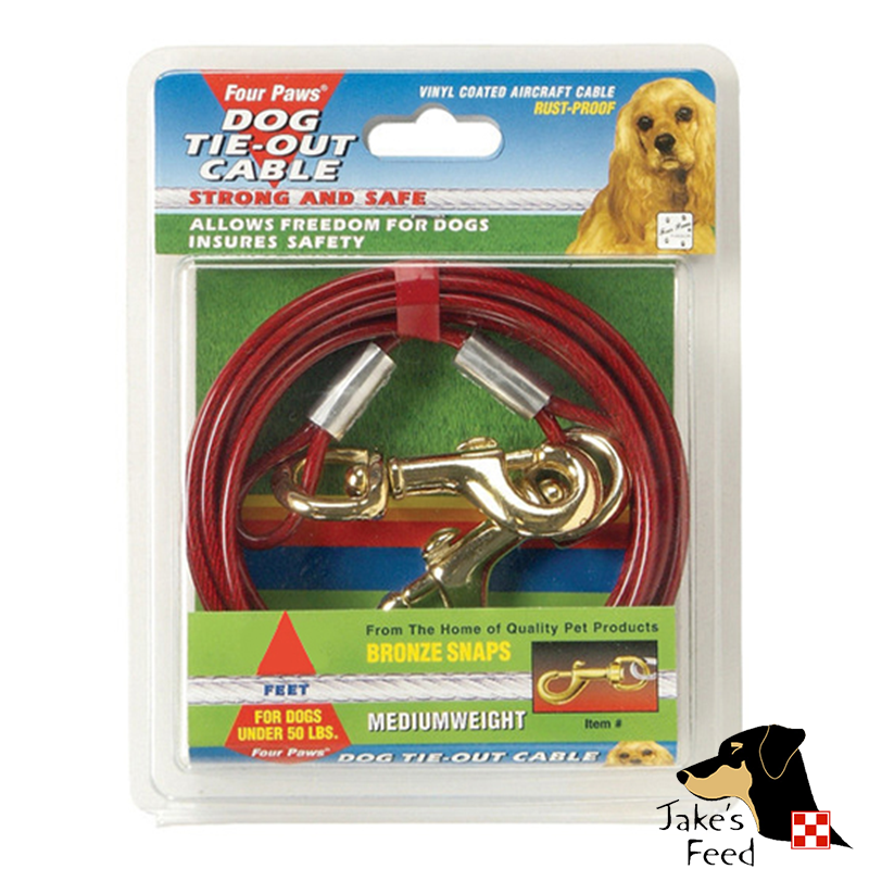 FOUR PAWS TIE OUT CABLE MEDIUM WEIGHT  20' RED
