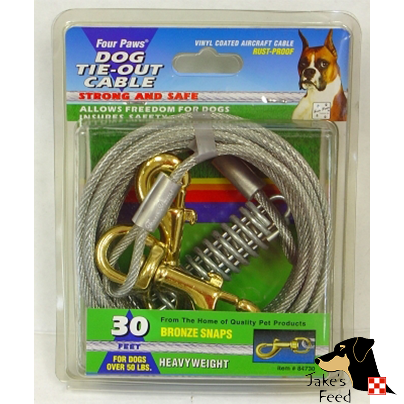 FOUR PAWS TIE OUT CABLE  HEAVYWEIGHT 30' SILVER