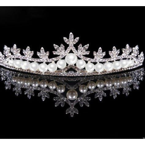Rhinestone and Pearl Tiara Crown
