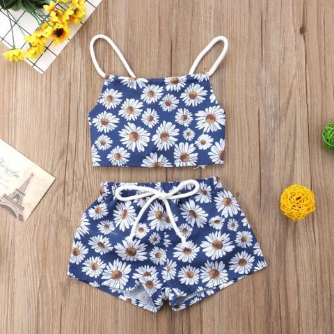 Sunflower Daisy Print Two Piece Outfit