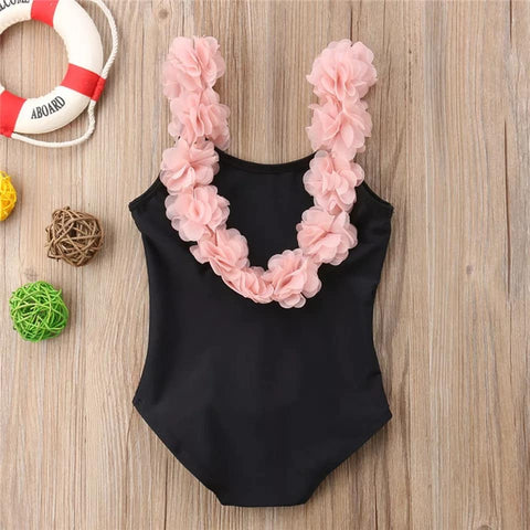 Black With Pink Ruffle Flower Swimsuit