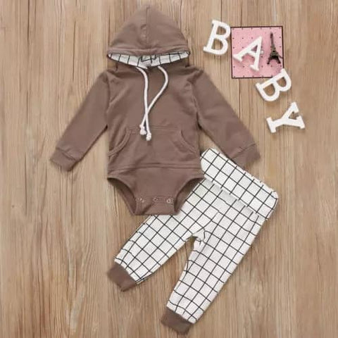 Baby Two Piece Romper and Plaid Pant