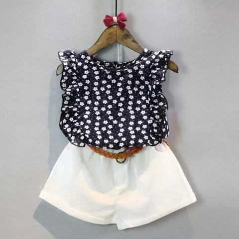 Two Piece Blouse And Shorts With Belt