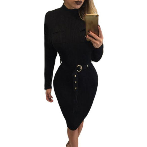 High Neck Rib Knitted Midi Dress with Belt