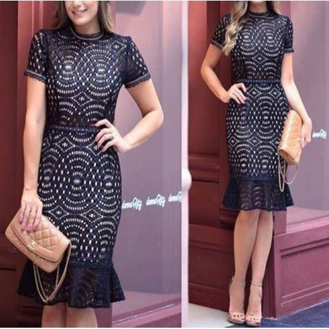 Elegant Black Lace Crochet Short Sleeve Mermaid Hem Midi Dress