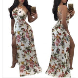 High Cut Sexy Floral White Backless Halter Long Dress
