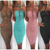 Solid Color Lace-up Halter Bandage Dress