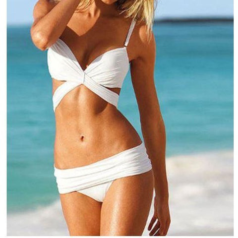 Black or White Swimwear Bandage Bikini Swimsuit