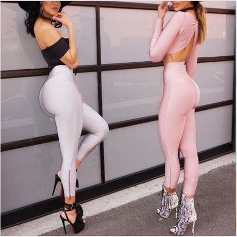 High Waist Slim Trousers Stretch Skinny Leggings Pencil Pants