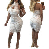 Floral Lace Crochet Choker Neck Curvy Club Dress