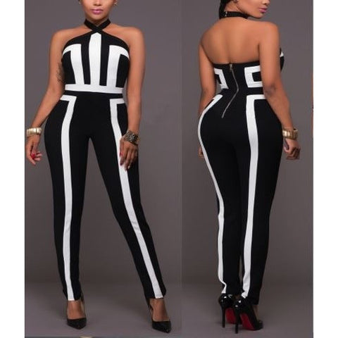 Black and White Contrast Halter Jumpsuit
