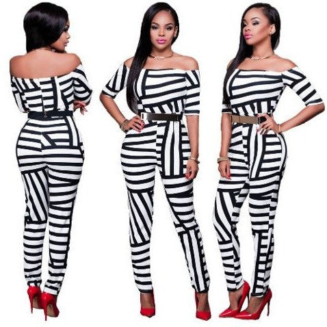 Black and White Stripped Sexy Off-Shoulder Jumpsuit