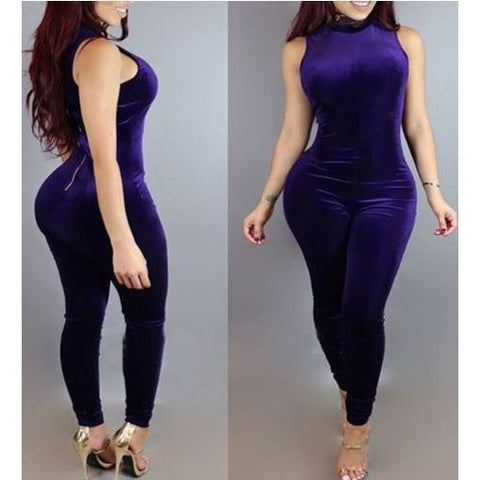 Plain Purple Velvet Bodycon Jumpsuit