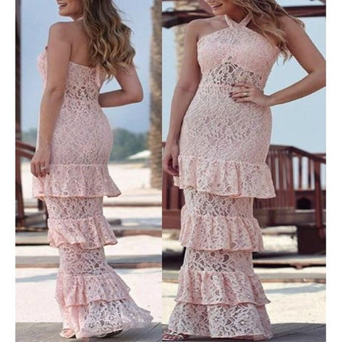 Pink Lace Sexy Long Cake Gown