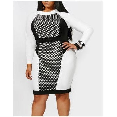 Plus Size White and Black Long Sleeve Midi Dress