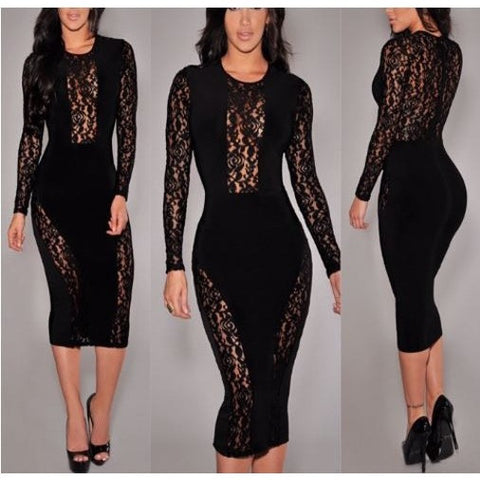 Flower Lace Black Midi Dress