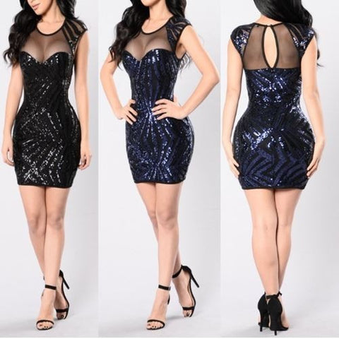 Black and Blue Sequins Party Dress