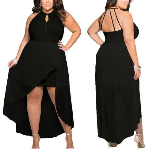 Stylish Black Lace Special Occasion Plus Size Dress