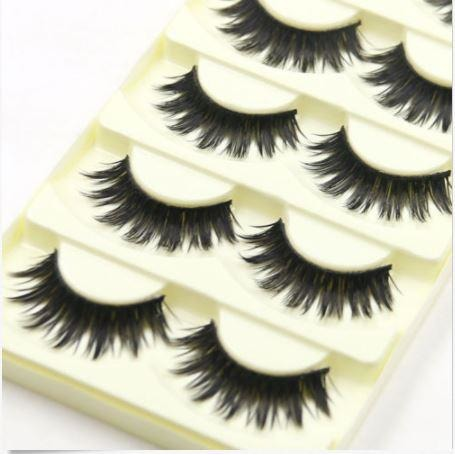 5 Pairs Long Black Cross False Eyelashes Makeup Thick Eye Lashes