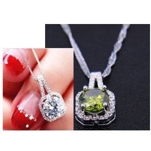 Crystal Pendant Chain Statement Necklace/925 Silver Green Crystal Pendant