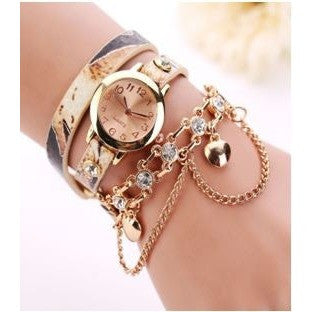 Leather Rhinestone Rivet Chain Quartz Bracelet Wristwatch Beige Montre