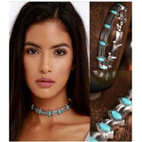 Chic Collar Retro Style Choker Necklace Statement Bohemian Turquoise