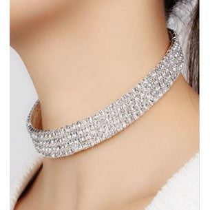 Clear Crystal Diamond Rhinestone Necklace Silver Choker