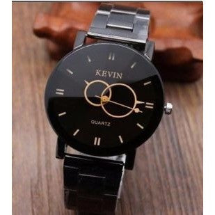 Design Black Stainless Steel Band Round Dial Quartz Wrist Watch