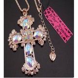 Betsey Johnson fashion inlaid crystal cross pendant necklace