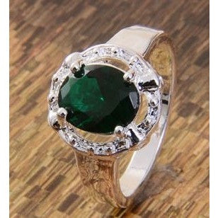 925 silver Emerald wedding ring size 6