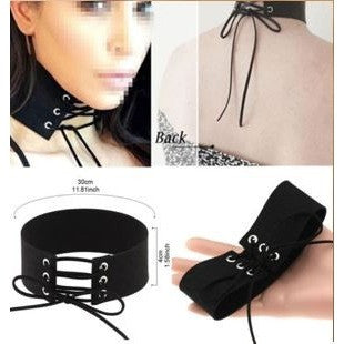 Black Sexy Women Lace Up Gothic Punk Choker Velvet Leather
