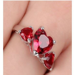 Vintage Red Ruby Wedding Rings Size8.5 Women's 10KT white Gold