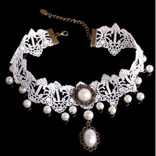 White Beads Popular Gothic Lolita Lace Collar Choker Necklace fashion jewelry