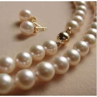 "AAA 8mm White Sea South Shell Pearl Necklace 18"" Earring"