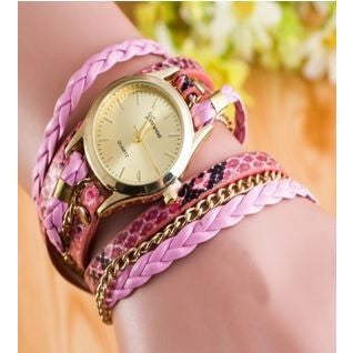 Women Synthetic Leather Wrap Around Bracelet Watch Chain