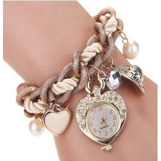 Women's Watch Ladies Heart Bracelet Watches Metal Preparation Wrist Watch